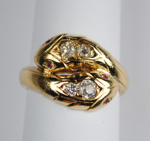 Victorian 14kt Diamond Double Snake Ring
