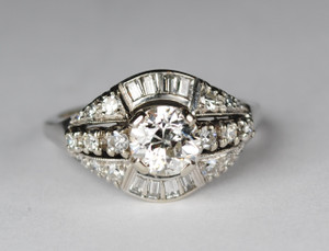 .90 Carat Vintage European-Cut Diamond Ring 14kt