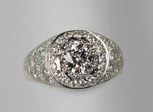 Large Chunky Two-Tone Estate 14kt Pavé Diamond Ring 3.0 ctw