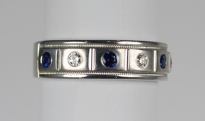 Men's Sapphire and Diamond Wedding Band