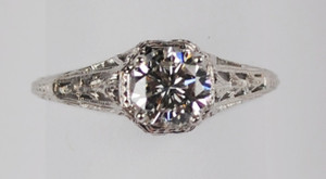 A Very Feminine Art Deco .81 Carat Platinum Diamond ring