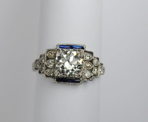 Art Deco Platinum Diamond Engagement Ring 1.25ct