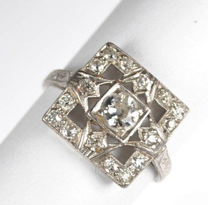 Fabulous Square Art Deco Diamond and Platinum Ring