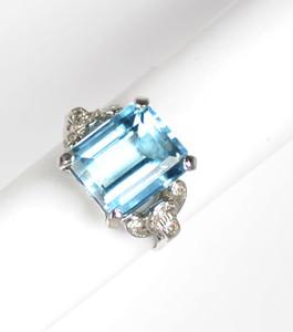 Retro Platinum Aquamarine and Diamond Statement Ring