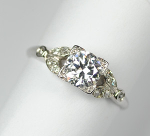 Art Deco Platinum Engagement Ring .81 carats
