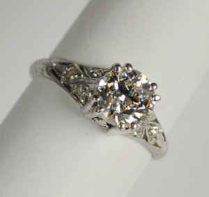 Art Deco Platinum and Diamond Engagement Ring .91 carats
