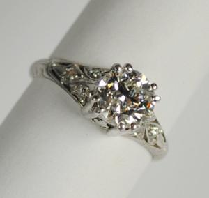 Art Deco Platinum and Diamond Engagement Ring .91 carats