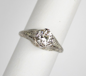 Art Deco Platinum 1.03 Carat Diamond Ring