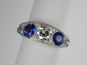 Amazing 5 Stone Edwardian Sapphire and Diamond Ring