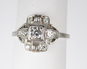 Art Deco Platinum and Diamond Ring .75 ctw.