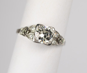 Art Deco Platinum and Diamond Ring .79 carats