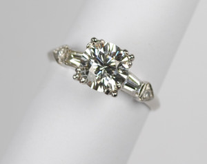Art Deco Platinum Diamond Engagement Ring 1.67ct