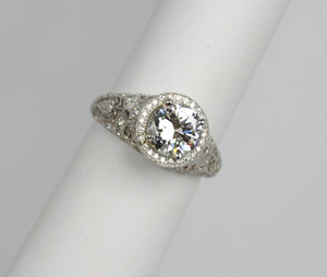 Magnificent Edwardian Platinum and Diamond Ring 1.15 carats