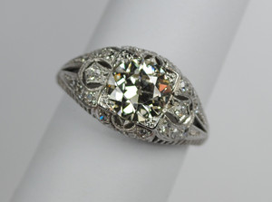 Art Deco Platinum & Diamond Filigree Engagement Ring  1.92 carats