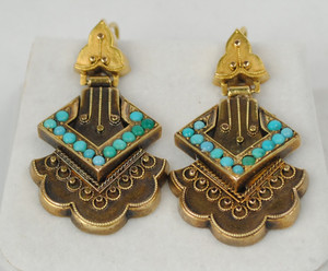 Victorian 14kt Etruscan & Turquoise Earrings