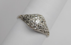 Art Deco Platinum Diamond Cluster Ring .70ctw