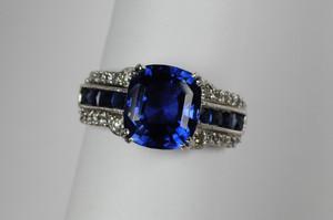 "4.17 carat ""No Heat"" Ceylon Sapphire Art Deco ring"