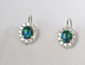 Contemporary Black Opal and Diamond Earrings