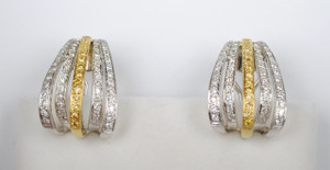 Estate White and Yellow Pavé Diamond Two Tone Earrings