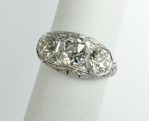 Art Deco Three Stone Diamond Ring in Platinum 2.75 ctw.