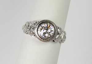Art Deco Style Platinum Diamond Ring .75 carats
