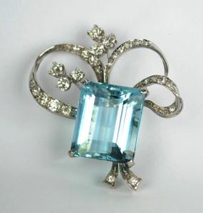 30 carat Aquamarine Pin Wrapped in Platinum and Diamonds