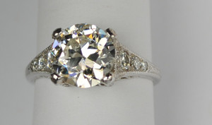 Diamond Platinum Engagement Ring Art Deco Style 2.41 carats
