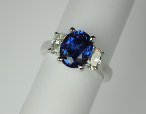 3.95 Carat Sapphire and Diamond 3 Stone Ring