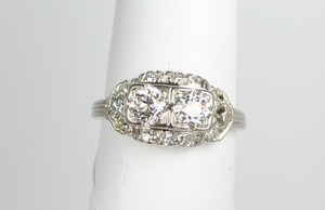 Art Deco Two stone diamond and platinum ring 1.20ctw