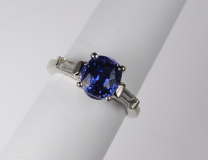 Classic 2.69 Sapphire and Diamond Ring in Platinum