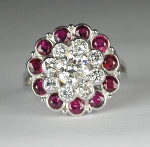 Estate 14kt .91 carat Diamond & Ruby Princess Ring