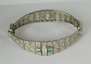 Art Deco Diamond and Emerald Bracelet 8.00+ctw.