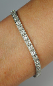 Art Deco Platinum and Diamond Line Bracelet 6 carats