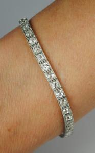 Art Deco Platinum and Diamond Line Bracelet 6 carats