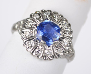 Cornflower Blue Sapphire and Diamond Ring in Platinum
