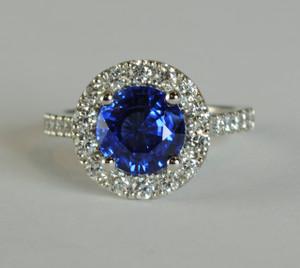 Modern Platinum Sapphire 2.70 carats & Diamond Ring .70ctw.