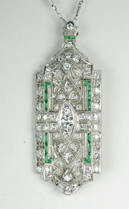 Art Deco Platinum and Diamond Pin/Pendant 3.0 ctw.