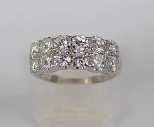 Estate 14kt 2 Row Diamond Half Band 1.80 ctw