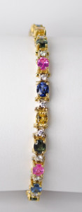 Estate 18K Multi Color Sapphire and Diamond Tennis Bracelet