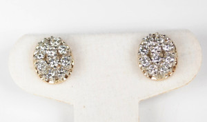 Estate 14kt Two Tone Diamond Cluster Stud Earrings 2.00ctw