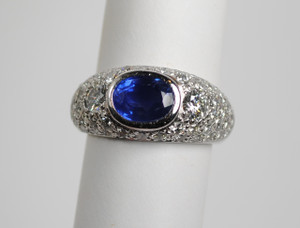 Estate 1.50 carat Sapphire and Diamond 1.90ctw Ring in Platinum