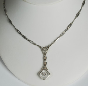 Art Deco 14kt Double Rock Quartz Crystal Filigree Pendant
