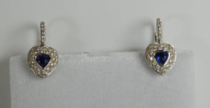 Sapphire and Diamond Heart Earrings 18kt White Gold