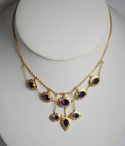 Victorian Amethyst and 14kt Yellow Gold Festoon Necklace