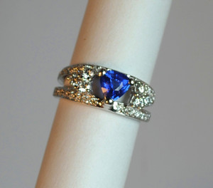 Modern Sapphire and Diamond Ring 14kt White Gold Ring