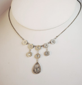 Edwardian Sandblasted Festoon Style  Diamond  Necklace 1.16ctw.