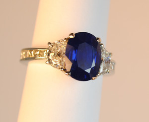 Three Stone 3.31 carat Sapphire and Diamond Ring in Platinum