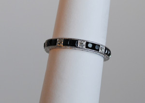 Art Deco Diamond and French Cut Black Onyx Platinum Band