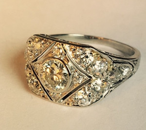 Art Deco Platinum Wide Engagement Ring 1.40 ctw.