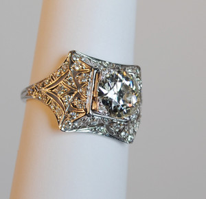 Art Deco Platinum Diamond Engagement Ring 2.10 carats